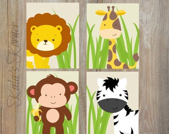 JUNGLE NURSERY DECOR - Safari Nursery art, Jungle Nursery decor, safari nursery decor, Playroom art, Playroom wall art, Safari art