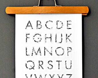 ABC Alphabet, poster, print, black and white, illustration, gift, wall decoration, image, decoration, home decor, minimalistic
