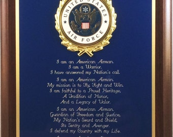"""8x10"""" USAF / United States Air Force Airman's Creed Plaque - Patriotic Gift or Award - Can be Personalized"""