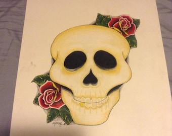 "14"" x 17"" Pencil Skull Drawing"