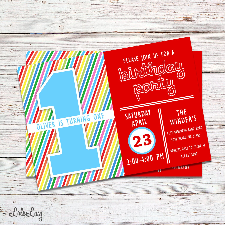 Birthday Invitation Colorful Birthday Invitation Rainbow