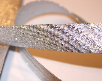 FABRIC POLYESTER / METALIC 18MM SHINY SILVER