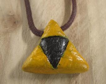 Home Made Zelda Style Triforce Symbol Pendant. Ceramic. Glazed. Non Toxic