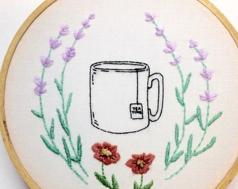 It's tea time hand embroidered kitchen sign
