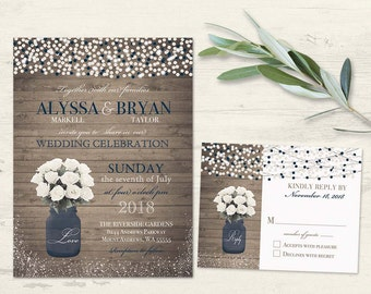 Rustic Printable Wedding Invitation Mason Jar Wedding Invite Navy blue Country Barn Wedding Invite Summer Wedding, String Lights White Roses