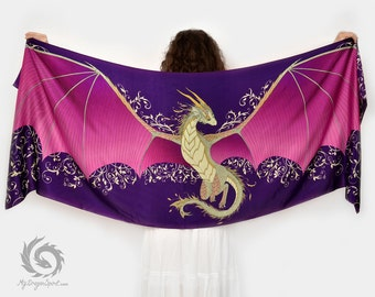 Purple silk scarf with a dragon wings - Fairytale wedding, Magical guardian, Mystical creature shawl, Fantasy accessory, Cute dragon