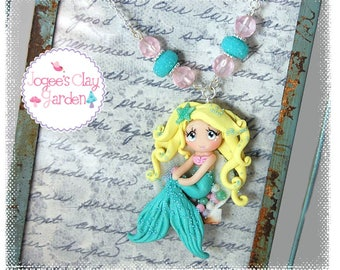 Mermaid in Sea Shell (#1) polymer clay pendant girls necklace by Jogee's Clay Garden