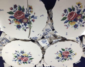 100 Large Blue Floral Broken China Mosaic Tiles With 4 Focals