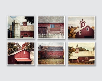 Red Farmhouse Decor, Pictures of Red Barns, Rustic Red Barn Print Gallery, Red Wall Decor of Red Barns, Living Room Wall Artwork, Set of 6.