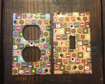 Kirby Light Switch And Other Style  Covers | Nintendo Art - Retro Arcade - Kirby Baby - Cute Kirby - NES Pixel Art - Video Game Decor - Gift