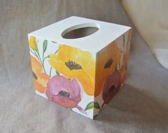 Tissue box cover. Wood box. Tulips. Decoupage. Napkin holder