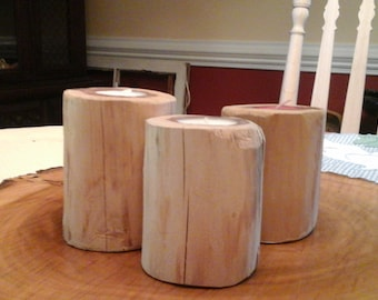 3 RUSTIC RED CEDAR Tea Candle Holders( With Free Candles )