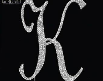 "Crystal Rhinestone Silver Letter ""K"" Monogram Wedding Anniversary Cake Topper, Large"
