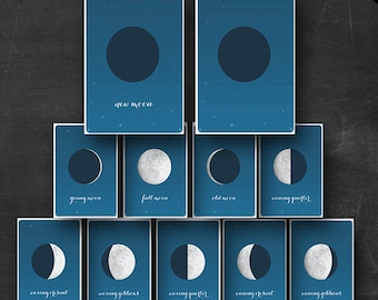 Moon Phases Flashcards- Printable Flash cards of the Phases of the Moon Instant Download - Moon Flashcards Astronomy Lunar Phases Astrology