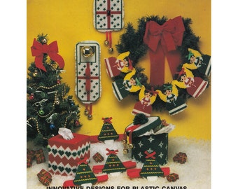 Christmas Holiday Leaflet 144 Pattern/Plastic Canvas Instructions DIY Gifts Homemade Coasters Tree Decoration Tissue Box Cover Gift Tags