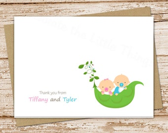 twins thank you cards set . folded personalized note cards . note cards . baby boy girl twins stationery . peas in a pod . set of 8