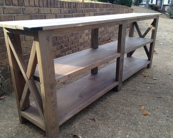 Handcrafted Rustic X Wood Console Table