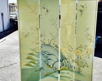 ON SALE Vintage Four Panel Chinese Hand Painted Screen Room Divider
