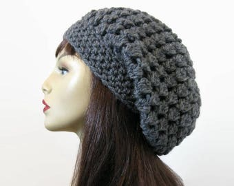 Charcoal Slouchy Hat Slouch Beanie Gray Crochet Slouchy Hat  Dark Gray Beret crochet women's hat Gray Beanie Crochet Tam Slouch Gray Cap