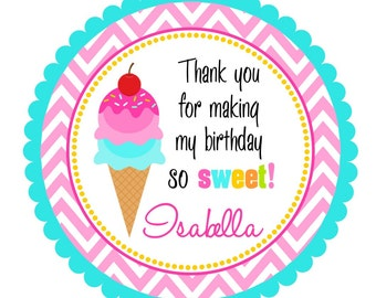 Ice cream Stickers, Ice Cream Birthday Party, Ice Cream Cone Stickers or Favor Tags - set of 12