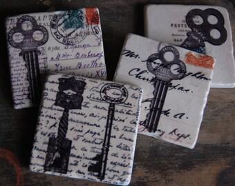 Vintage Keys - stone coasters (set of 4)