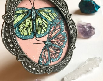 Butterfly Painting // Unique Gift // Inexpensive Art // Small Painting // Bedroom Decor // Gift for Aunt, Mom, Grandma, Her // Garden