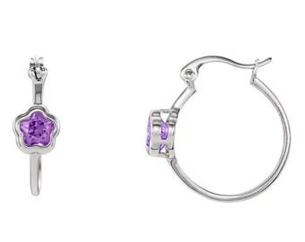 Sterling Silver Purple CZ Hoop Earrings