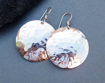 Hammered Silver Earrings Shiny Sterling Silver Disc Earrings Artisan Handmade Round Dangle Modern Metal Jewelry