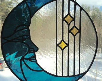 """10"""" Stained Glass Moon and Stars Window"""