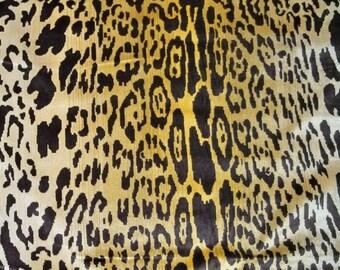 SCALAMANDRE LEOPARDO Leopard Silk Velvet Fabric 3 Yards Ivory Gold Brown