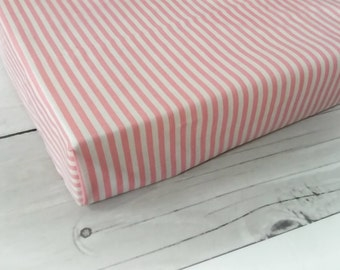baby girl sheet, pink bedding, crib sheets, soft cotton sheet, baby girl crib sheet, fitted crib sheet, pink stripes bedding, white and pink