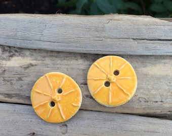 citrus ceramic button set Summer Artisan clay buttons yellow button Large button fruit buttons lemon button orange button spring summer