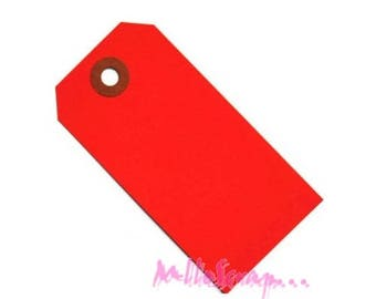Set of 5 red tags embellishment cardmaking scrapbooking paper *.