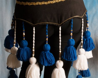 ATS Royal Blue and White Yarn Tassel Belt