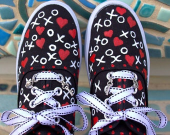 Black Platform Sneakers Painted with White XOXO's and Bright Red Hearts/Unique Valentine's Day Gift/Fun Way to Express Your Love for Her