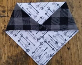 Arrows-For-Days // Grey Black Buffalo Check - Flannel Dog Bandana