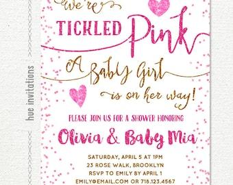 tickled pink baby shower invitation girl, hearts valentine baby shower invitation, pink gold baby shower invitation digital printable file