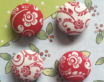 Red Floral Magnets, Red Flowers, Red Kitchen Decor, Refrigerator Magnets, Fridge Magnets, Office Decor, Shabby Chic Magnets, Organization