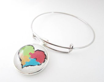 Autism awareness bracelet - autism puzzle piece heart - autism charm bracelet - autism awareness keychain