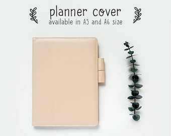 Planner Cover for Hobonichi, Midori, A5, A6 Notebooks, Beige Pink Faux Leather Cover