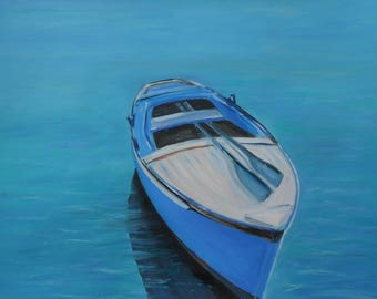 Oil on paper-Oil Realistic on paper-Modern Oil Painting-Sea oil painting-Boat realistic painting-Sea and sky painting-Original wall oil art