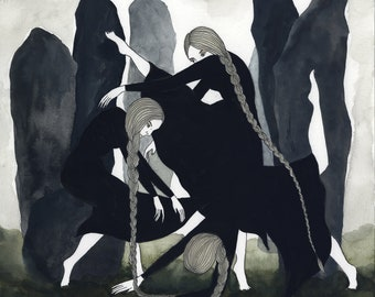 The Weird Sisters Original Watercolor Illustration