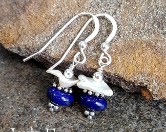 Lapis Lazuli Earrings with White Keshi Pearls Gemstone Earrings Sterling Silver Womens Gift for Mom Gemstone Jewelry Blue White Simple