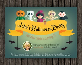Halloween Birthday Invitation, Costume Party Invitation, Printable Halloween, Photo Card, Kids Costume Party