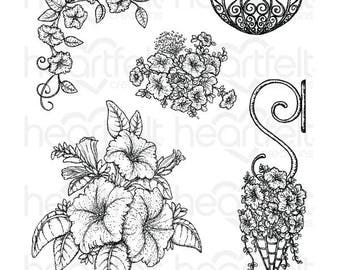 Heartfelt Creations Classic Petunia Bouquet Cling Stamp Set HCPC-3787