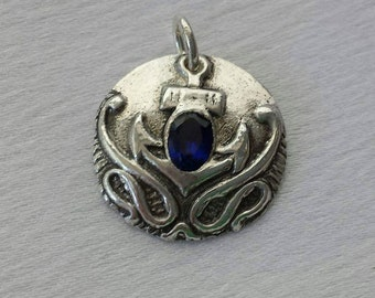 Handmade Fine Silver & Sapphire Pendant featuring Nautical theme with Anchor and Ocean Waves