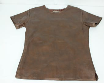 The Leather Man NY Brown Vintage 70s Zipper Short Sleeve Shirt