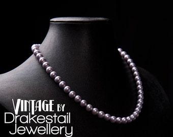Lavender Swarovski pearl necklace - Vintage by Drakestail Jewellery