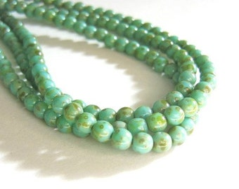 50 Blue Czech Bead 4mm Round, Turquoise Picasso, Pressed Glass Druk
