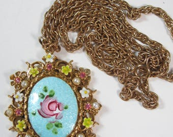 Vintage Blue Guilloche Rose Enameled Flowers Pink Rhinestone Necklace Signed ART